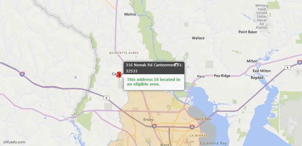 USDA Loan Eligiblity Map - 316 Nowak Rd, Cantonment, FL 32533