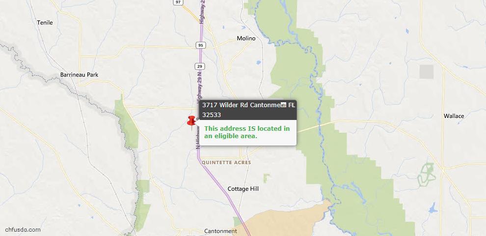 USDA Loan Eligiblity Map - 3717 Wilder Rd, Cantonment, FL 32533