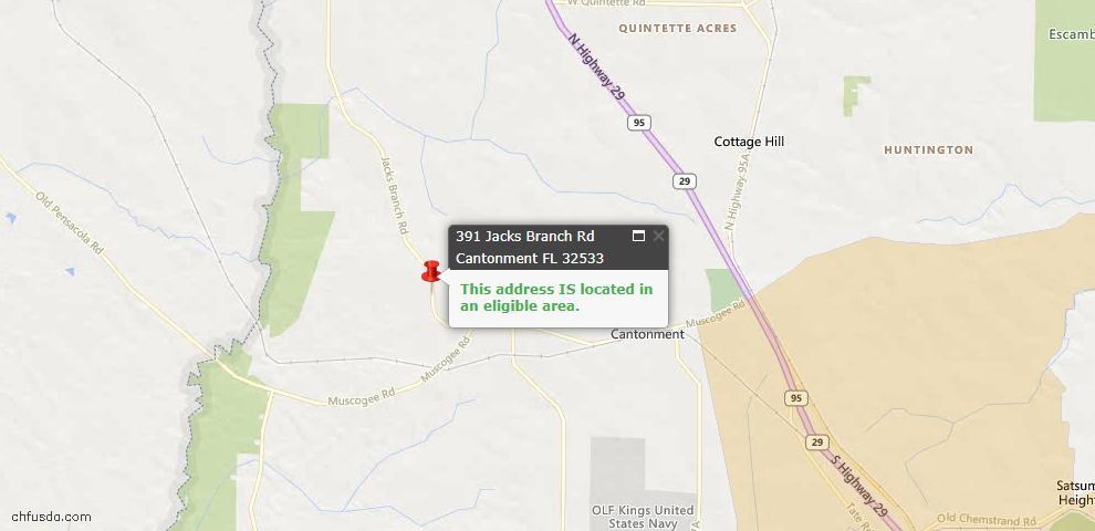 USDA Loan Eligiblity Map - 391 Jacks Branch Rd, Cantonment, FL 32533
