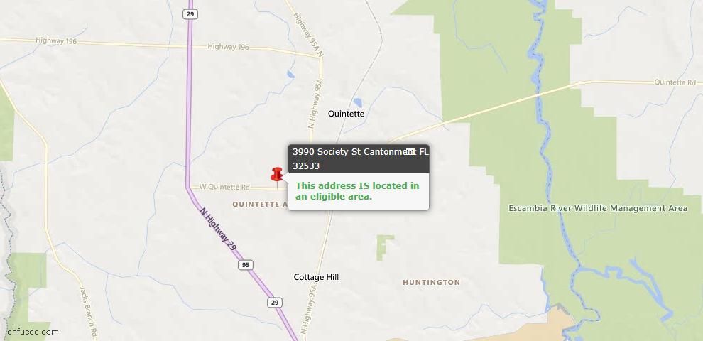USDA Loan Eligiblity Map - 3990 Society St, Cantonment, FL 32533