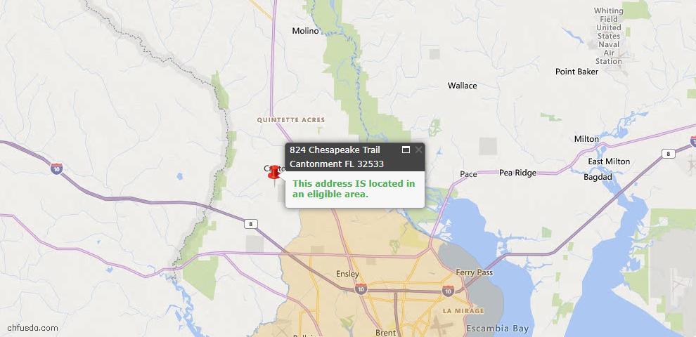 USDA Loan Eligiblity Map - 824 Chesapeake Trl, Cantonment, FL 32533