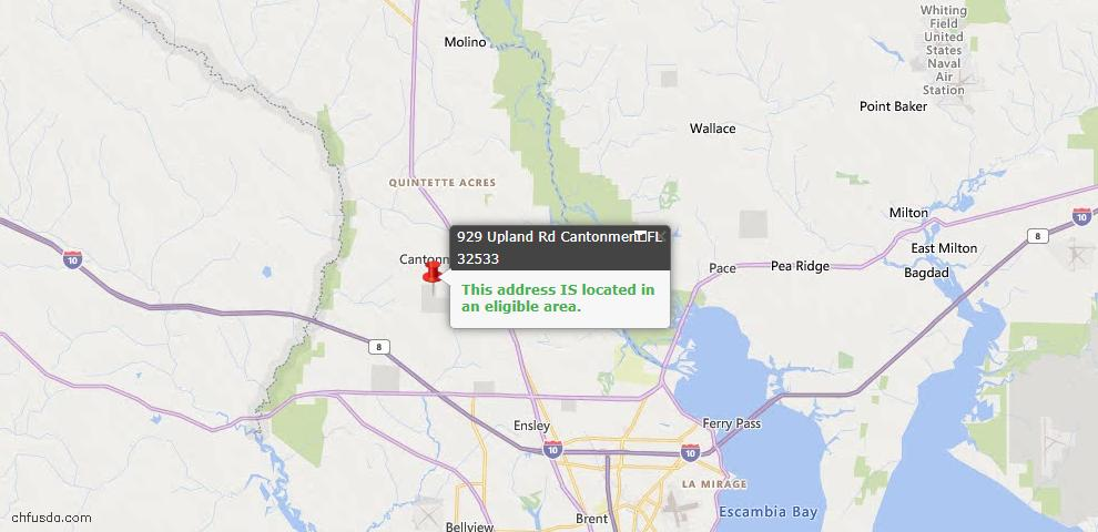 USDA Loan Eligiblity Map - 929 Upland Rd, Cantonment, FL 32533