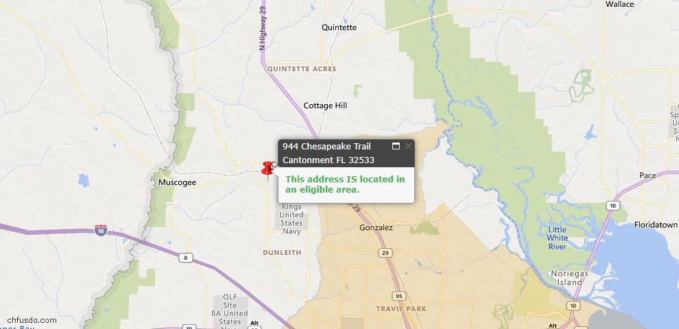 USDA Loan Eligiblity Map - 944 Chesapeake Trl, Cantonment, FL 32533