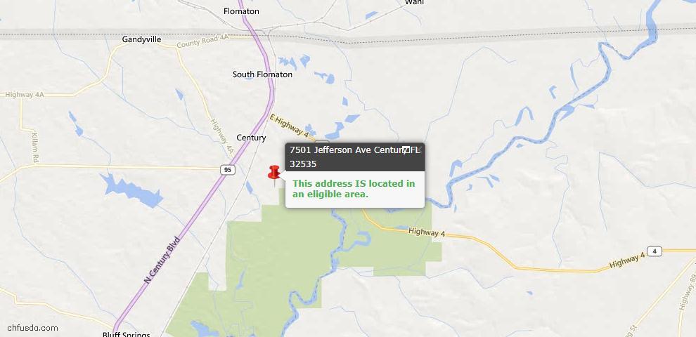 USDA Loan Eligiblity Map - 7501 Jefferson Ave, Century, FL 32535