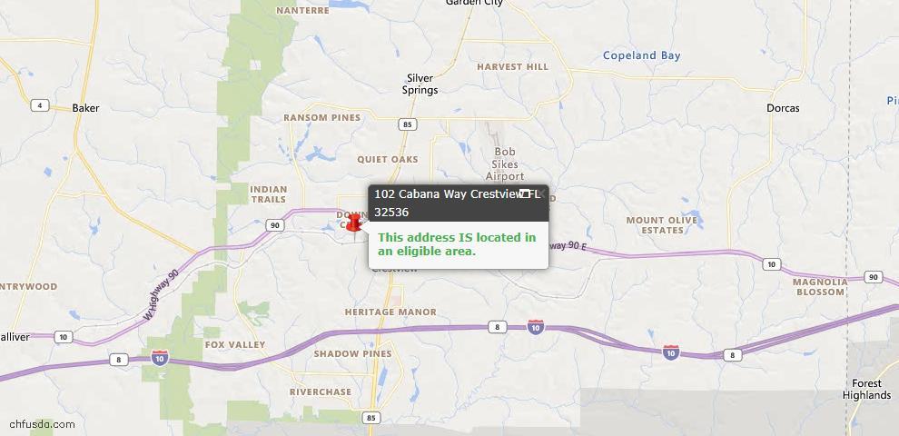 USDA Loan Eligiblity Map - 102 Cabana Way, Crestview, FL 32536