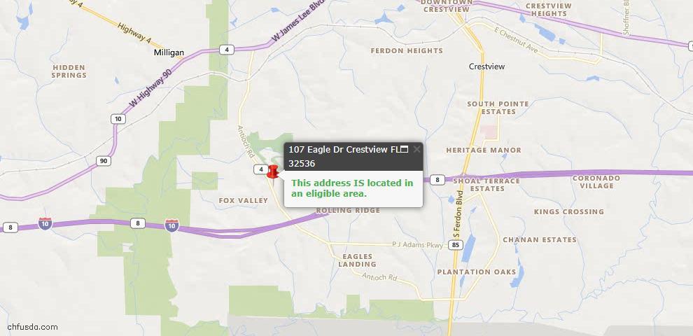 USDA Loan Eligiblity Map - 107 Eagle Dr, Crestview, FL 32536