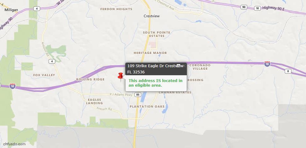 USDA Loan Eligiblity Map - 109 Strike Eagle Dr, Crestview, FL 32536