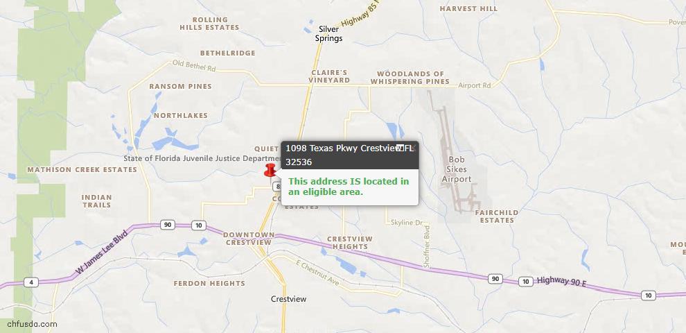 USDA Loan Eligiblity Map - 1098 Texas Pkwy, Crestview, FL 32536