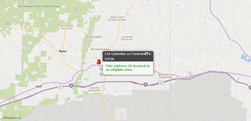 USDA Loan Eligiblity Map - 110 Columbia Ln, Crestview, FL 32536