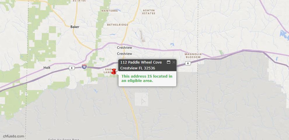 USDA Loan Eligiblity Map - 112 Paddle Wheel Cv, Crestview, FL 32536