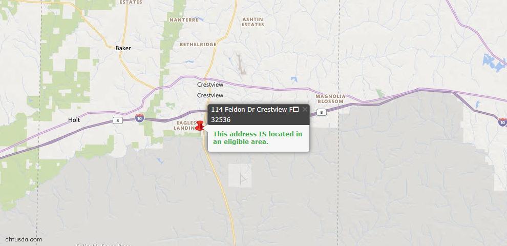 USDA Loan Eligiblity Map - 114 Feldon Dr, Crestview, FL 32536