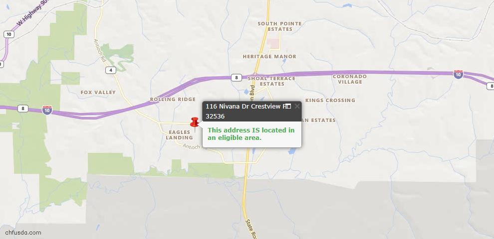 USDA Loan Eligiblity Map - 116 Nivana Dr, Crestview, FL 32536