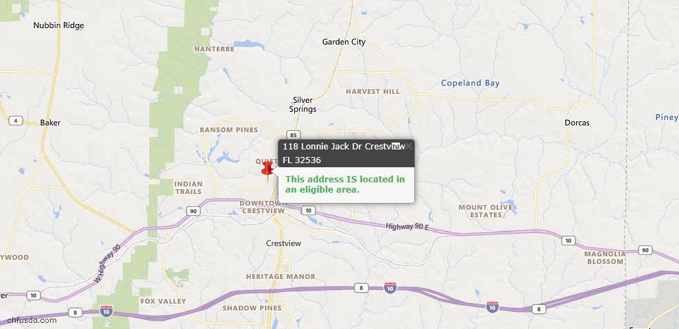 USDA Loan Eligiblity Map - 118 Lonnie Jack Dr, Crestview, FL 32536