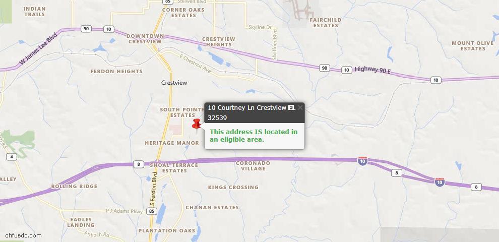 USDA Loan Eligiblity Map - 10 Courtney Ln, Crestview, FL 32539