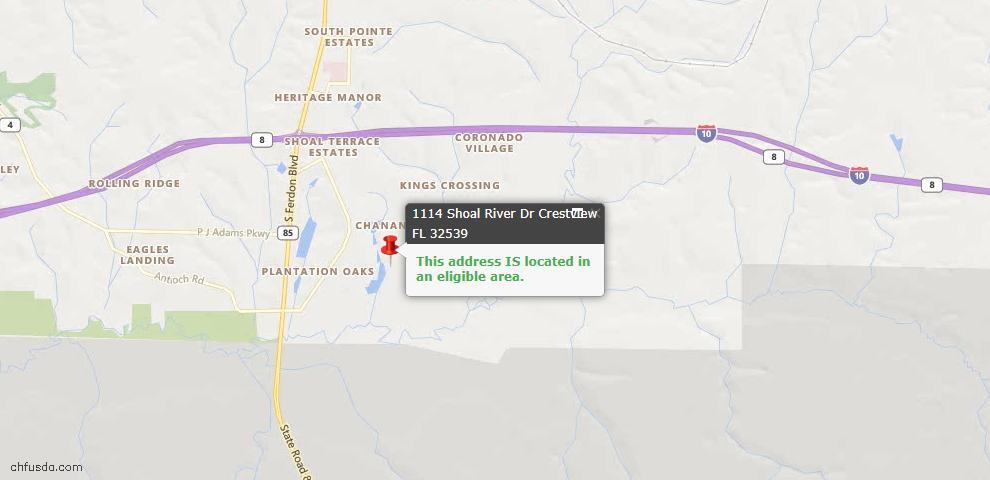 USDA Loan Eligiblity Map - 1114 Shoal River Dr, Crestview, FL 32539