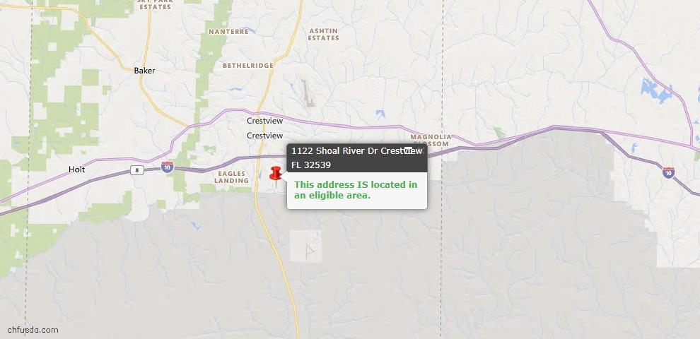 USDA Loan Eligiblity Map - 1122 Shoal River Dr, Crestview, FL 32539
