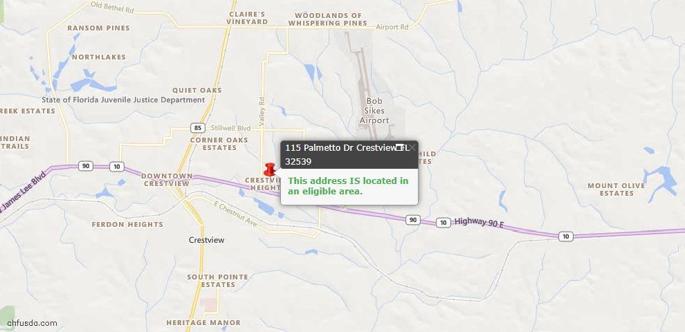 USDA Loan Eligiblity Map - 115 Palmetto Dr, Crestview, FL 32539