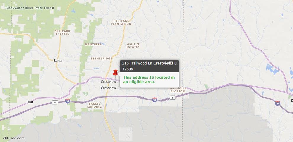 USDA Loan Eligiblity Map - 115 Trailwood Ln, Crestview, FL 32539