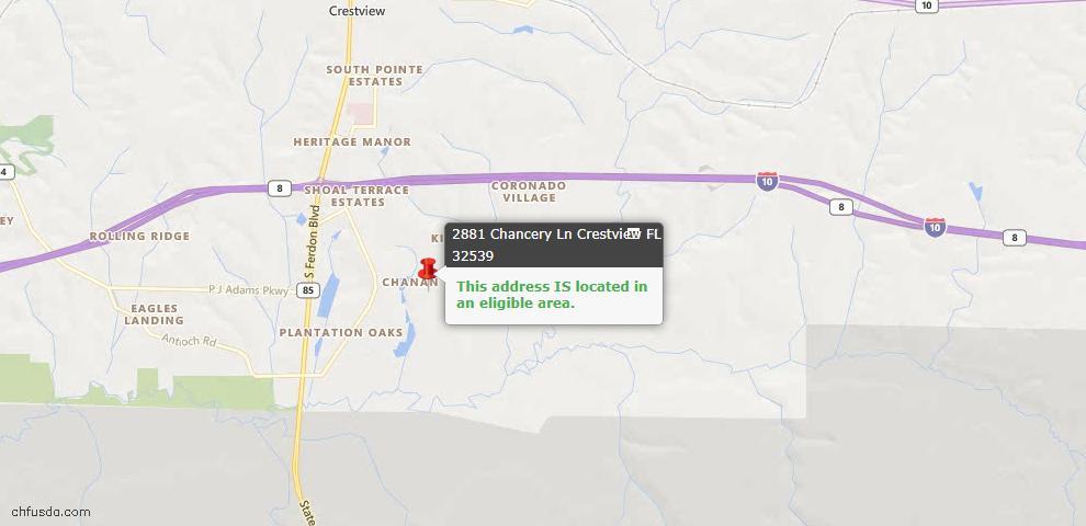 USDA Loan Eligiblity Map - 2881 Chancery Ln, Crestview, FL 32539