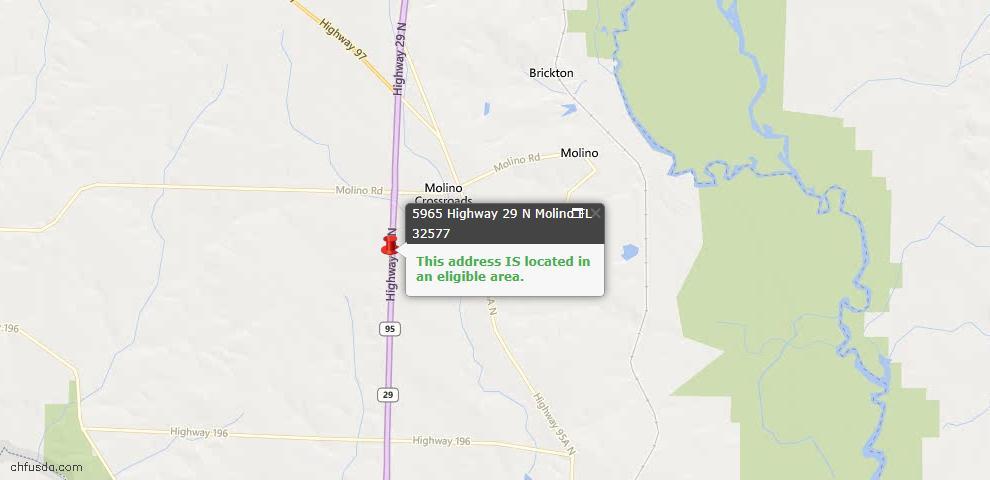 USDA Loan Eligiblity Map - 5965 Hwy 29, Molino, FL 32577