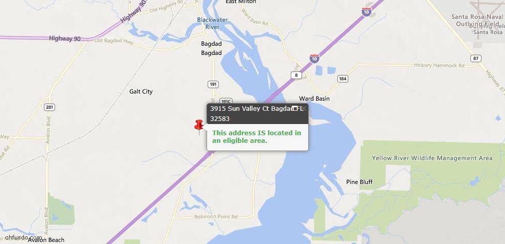 USDA Loan Eligiblity Maps From - Bagdad, FL