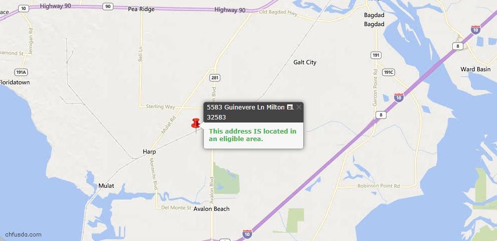 USDA Loan Eligiblity Maps From - Milton, FL