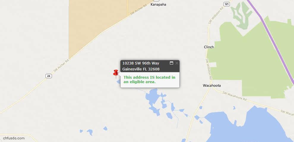 USDA Loan Eligiblity Map - 10238 SW 96th Way, Gainesville, FL 32608