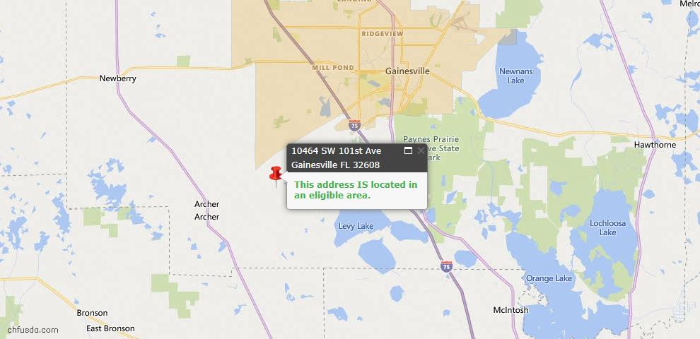 USDA Loan Eligiblity Map - 10464 SW 101 Ave, Gainesville, FL 32608