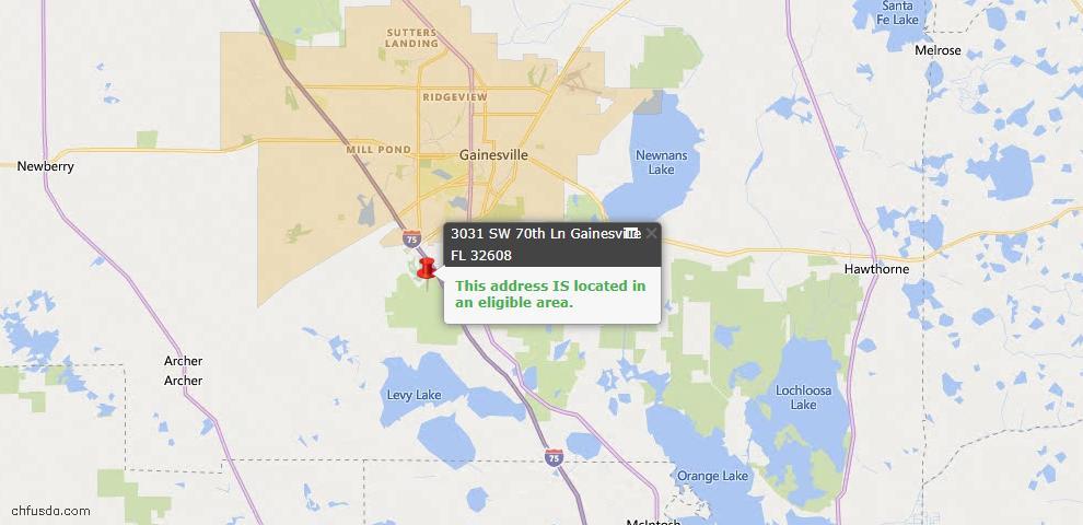USDA Loan Eligiblity Map - 3031 SW 70th Ln, Gainesville, FL 32608