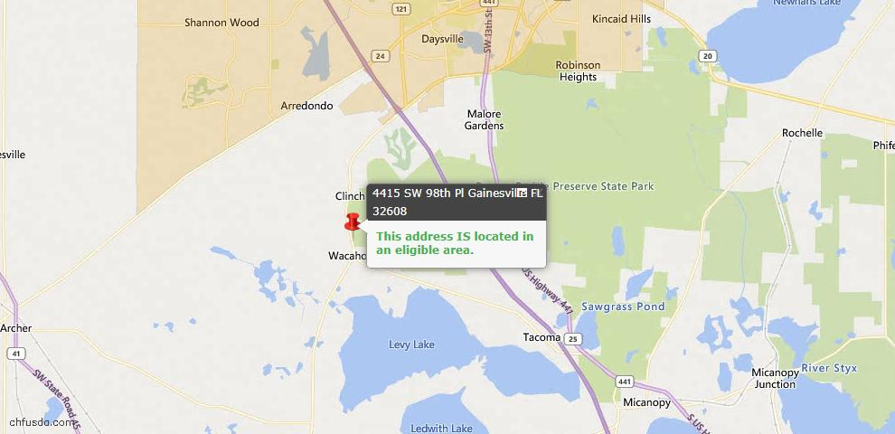 USDA Loan Eligiblity Map - 4415 SW 98th Pl, Gainesville, FL 32608