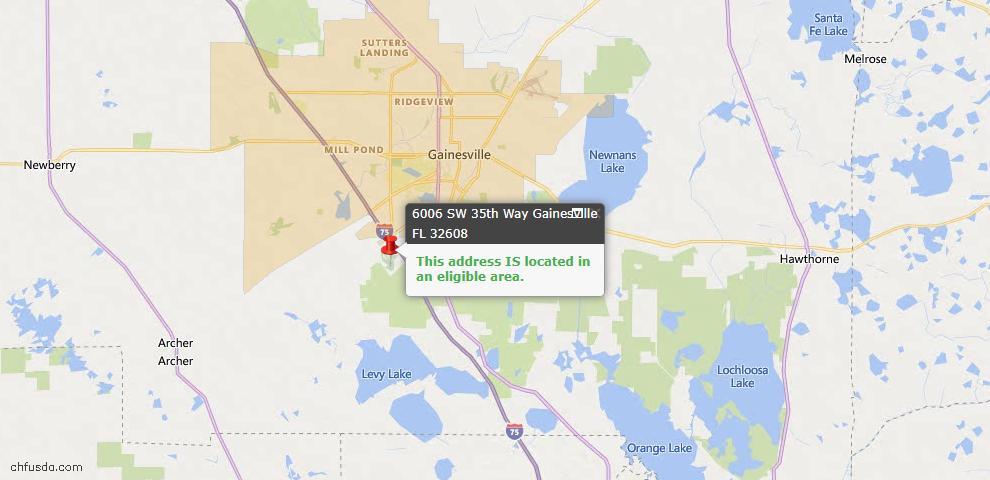 USDA Loan Eligiblity Map - 6006 SW 35th Way, Gainesville, FL 32608