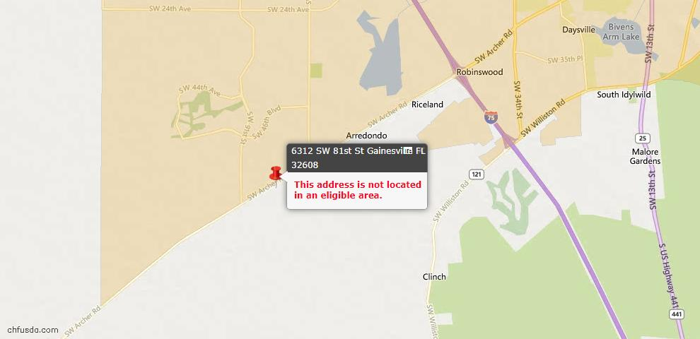 USDA Loan Eligiblity Maps From - Gainesville, FL