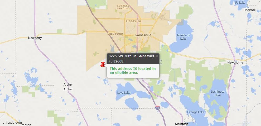USDA Loan Eligiblity Map - 8225 SW 78TH Ln, Gainesville, FL 32608