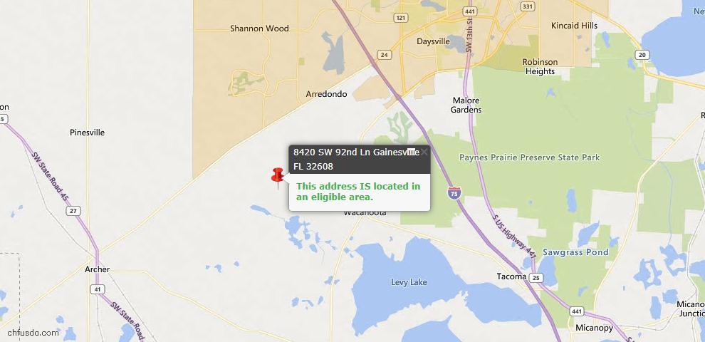 USDA Loan Eligiblity Map - 8420 SW 92ND, Gainesville, FL 32608