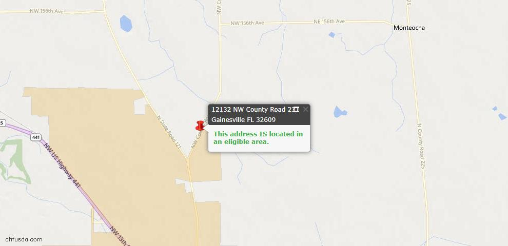 USDA Loan Eligiblity Map - 12132 NW County Road 231, Gainesville, FL 32609