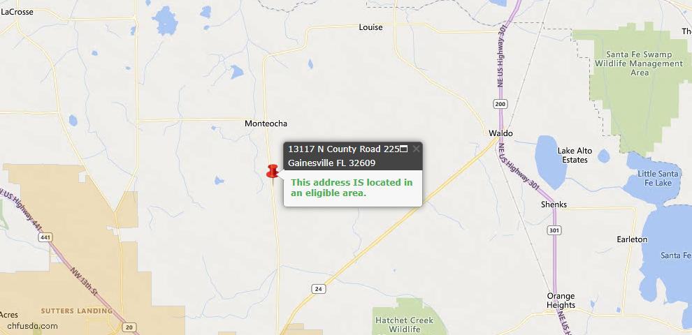 USDA Loan Eligiblity Map - 13117 N COUNTY ROAD 225, Gainesville, FL 32609
