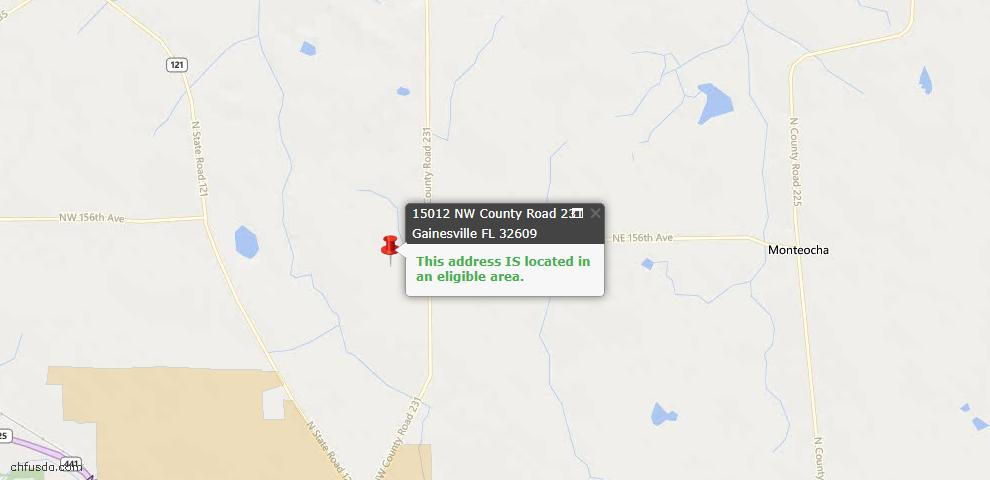 USDA Loan Eligiblity Map - 15012 NW County Road 231, Gainesville, FL 32609