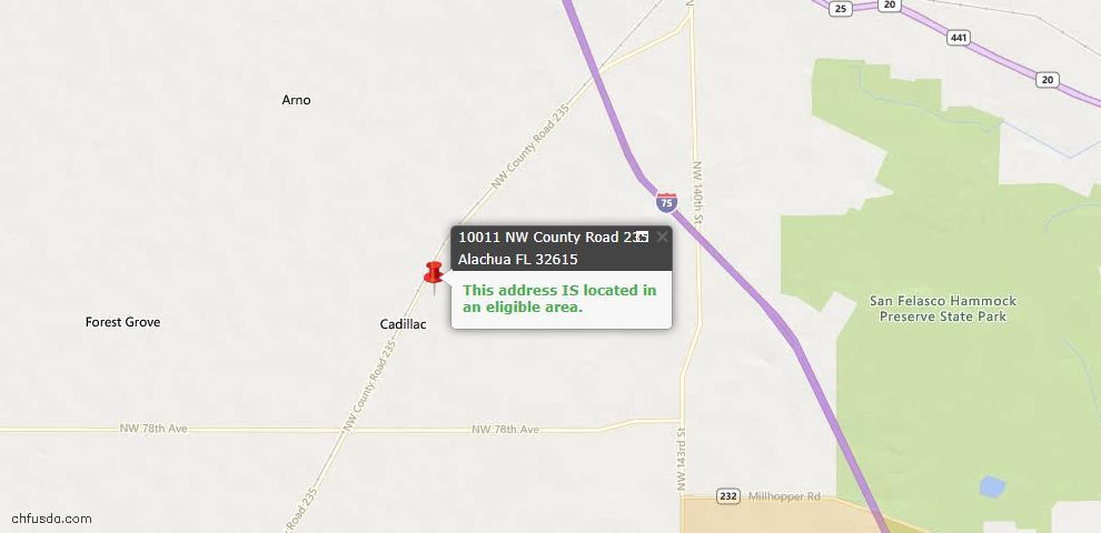 USDA Loan Eligiblity Map - 10011 NW County Road 235, Alachua, FL 32615