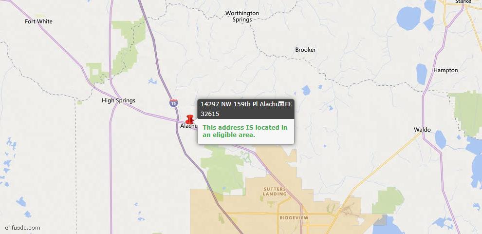 USDA Loan Eligiblity Map - 14297 NW 159TH Pl, Alachua, FL 32615