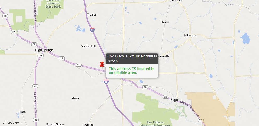 USDA Loan Eligiblity Map - 16733 NW 167th Dr, Alachua, FL 32615