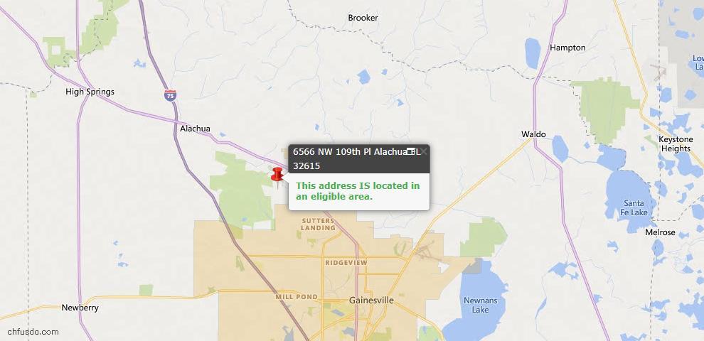 USDA Loan Eligiblity Map - 6566 NW 109TH Pl, Alachua, FL 32615