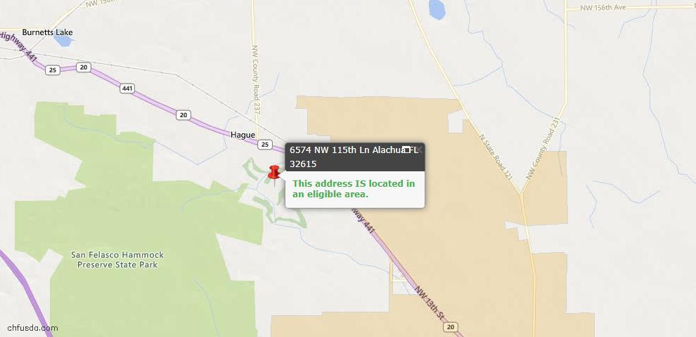 USDA Loan Eligiblity Map - 6574 NW 115th Ln, Alachua, FL 32615
