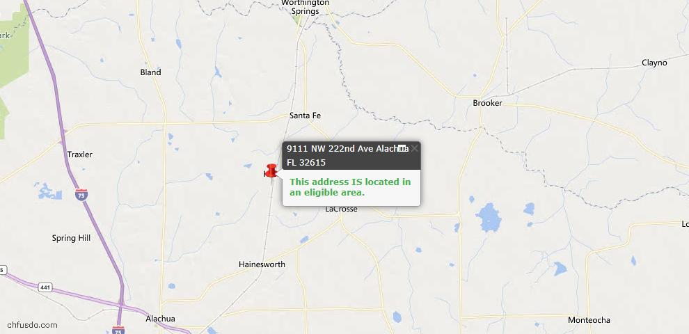 USDA Loan Eligiblity Map - 9111 NW 222nd ave Ave, Alachua, FL 32615