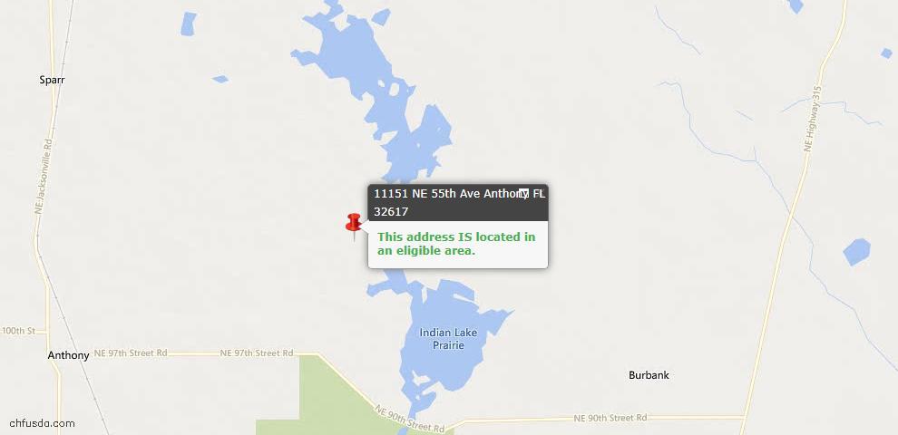 USDA Loan Eligiblity Maps From - Anthony, FL