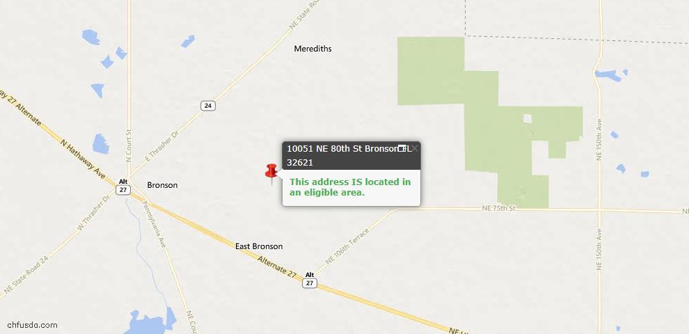 USDA Loan Eligiblity Maps From - Bronson, FL
