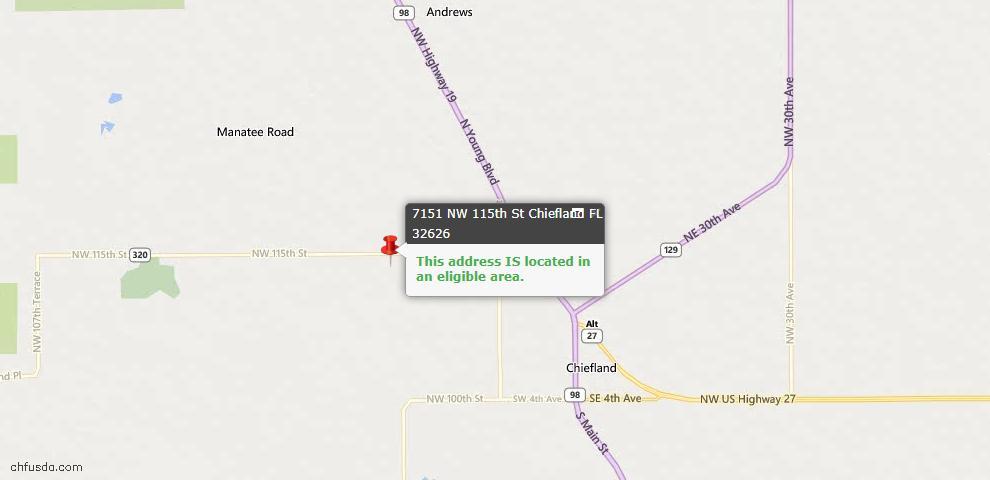 USDA Loan Eligiblity Maps From - Chiefland, FL