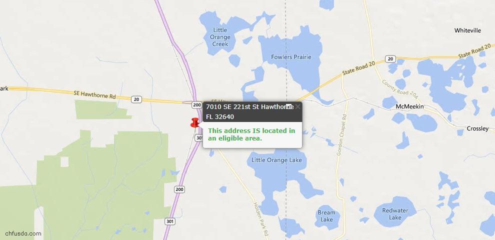 USDA Loan Eligiblity Maps From - Hawthorne, FL