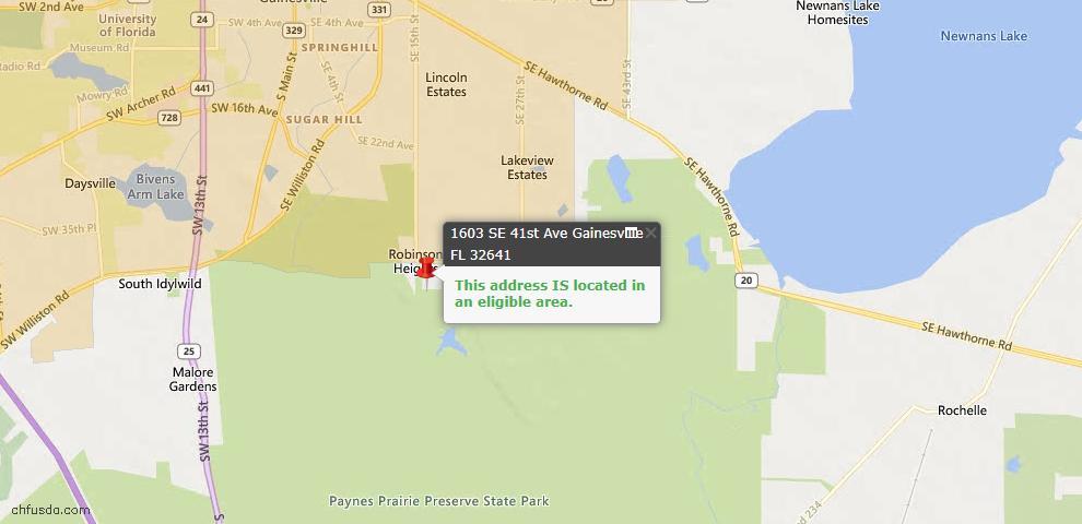 USDA Loan Eligiblity Map - 1603 SE 41st Ave, Gainesville, FL 32641