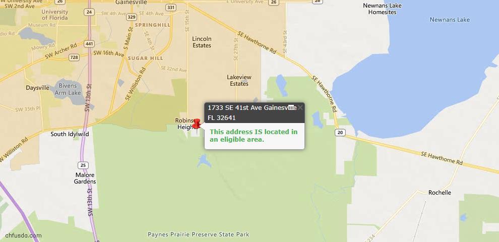 USDA Loan Eligiblity Map - 1733 SE 41st Ave, Gainesville, FL 32641