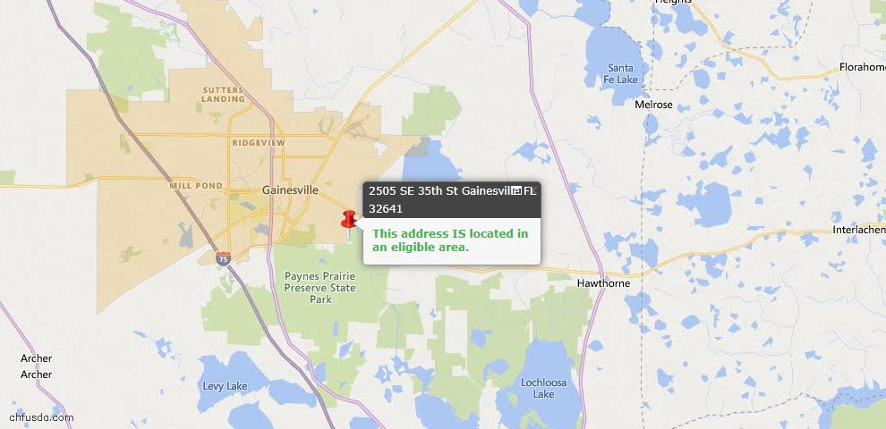 USDA Loan Eligiblity Map - 2505 SE 35th St, Gainesville, FL 32641
